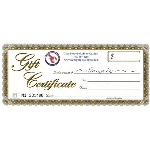 SEAFOOD GIFT CERTIFICATES